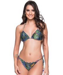 Colorful leaves scrunch bikini with pompons - RIPPLE ARARA AZUL