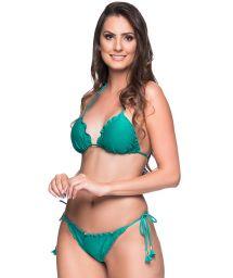 Green side-tie scrunch Brazilian bikini with wavy edges - RIPPLE ARQUIPELAGO