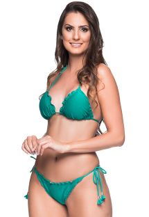 Green side-tie scrunch Brazilian bikini with wavy edges - RIPPLE ARQUIPELAGO