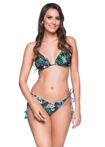 Färgglad blommig rynkad bikini med pompoms - RIPPLE ATALAIA