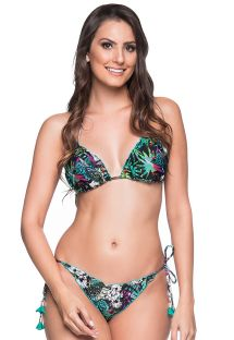Colorful floral scrunch bikini with pompons - RIPPLE ATALAIA
