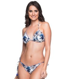 Blaugeblümter Scrunch-Bikini mit Pompons - RIPPLE ATOBA