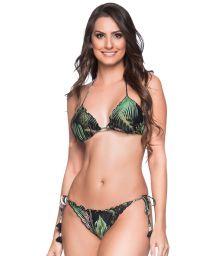 Green tropical scrunch bikini with pompons - RIPPLE BOTANICAL