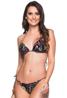 Floral scrunch bikini with orange pompoms - RIPPLE DREAM