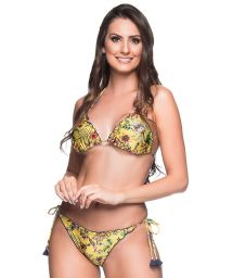 Yellow floral scrunch bikini with purple pompons - RIPPLE DREAM AMARELA