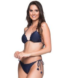 Navy blue scrunch bikini with pompons - RIPPLE MIRAMAR