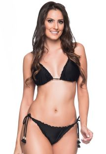 Black scrunch bikini with pompons - RIPPLE PRETO