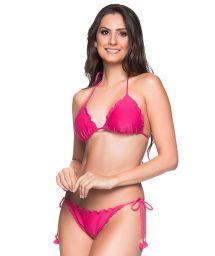 Pink scrunch bikini with pompons - RIPPLE TROPICALIA