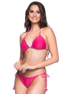 Roze bikini van kreukelstof met pompons- RIPPLE TROPICALIA