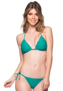 Green side-tie scrunch bikini with wavy edges and stones - ROLOTE ARQUIPELAGO