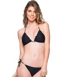 Black side-tie scrunch bikini with wavy edges and stones - ROLOTE PRETO