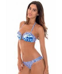 Mixed blue print padded bandeau bikini - SABIA GRINGA