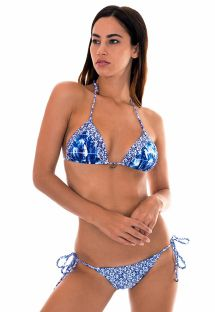 Triangle bikini in mixed blue/white prints - SABIA LACINHO