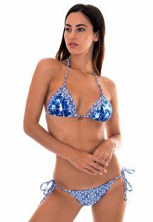 Bikini triangle mix d&#39imprimés bleu/blanc - SABIA LACINHO