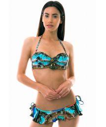 Side tied skirted bikini bandeau - Cuban print - SETE MILHAS