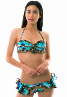 Side tied skirted bikini bandeau - Cuban print - SETE MILHAS