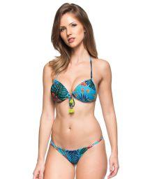 Bluepush-up bikini withplant theme print and tassels - SUL DA INDIA