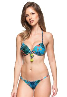 Blue push-up bikini with plant theme print and tassels - SUL DA INDIA