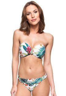 Bikini de top a banda floreal blanco y piedras verdes - SUL DA SICILIA