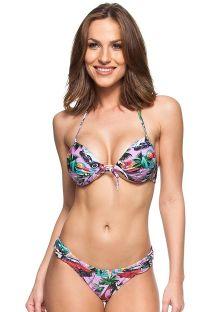Cuba print pleated push-up bikini with underwire - SUNRISE