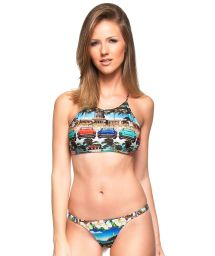 Cuba print crop-top bikini with criss-cross back - TAMAREIRA