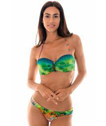 Padded tropical bandeau bikini with leaf detailing - TERRA DRAPEADO