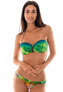 Padded tropical bandeau bikini with leaf detailing - TERRA DRAPEADO