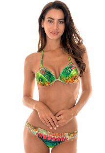Padded tropical triangle bikini with strappy bottom - TERRA TIRAS