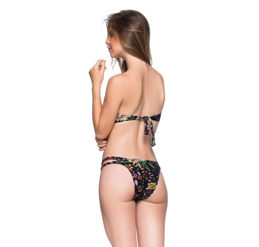 Black floral bandeau bikini with removable straps - TIRAS DREAM