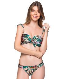 Green floral bandeau bikini with adjustable straps - TIRAS TROPICAL GARDEN