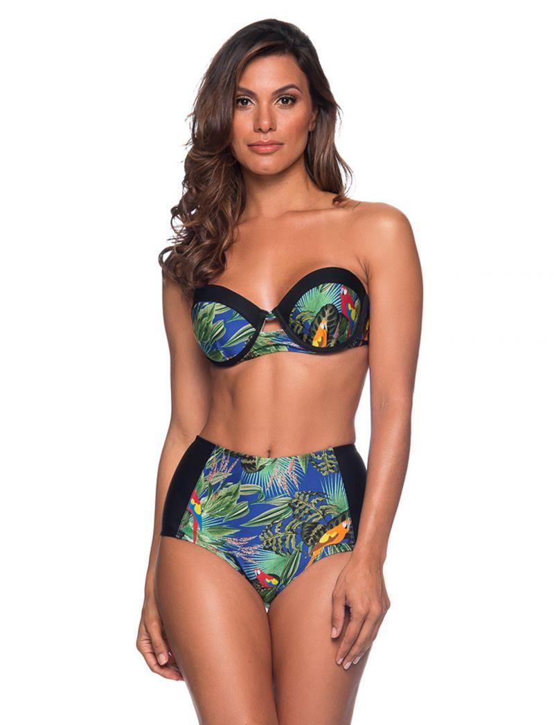 Flerfärgat tropiskt mönstrad bikini, byxa med hög midja och slankgörande effekt - TQC ARARA AZUL