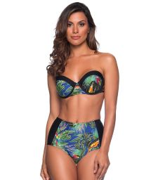 Colorful tropical underwired bandeau bikini with slimming bottom - TQC ARARA AZUL
