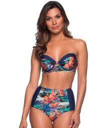 Tropical underwired bandeau bikini with slimming bottom - TQC NORONHA FLORAL