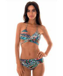 Ethnic print swimming costume with crossover top - TRIBAL CRUZADO