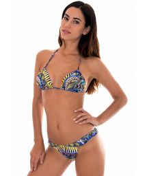 Tribal blue print padded triangle bikini - TRIBAL DRAPEADO