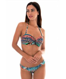 Ethnic colour bandeau bikini with leaf detail - TRIBAL FAIXA