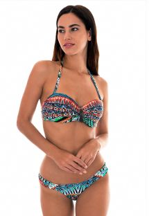 Ethnic colour bandeau bikini with leaf detail - TRIBAL FAIXA