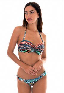 Bikini bandeau ethnique coloré détail feuille - TRIBAL FAIXA