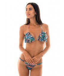 Ethnic-patterned thong bikini with flounced top - TRIBAL MINI
