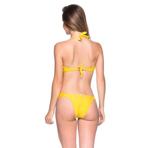 Κίτρινο μπικίνι με διακοσμητικές λεπτομέρειες και σουτιέν τύπου «halter» - TURBINADA PAELLA