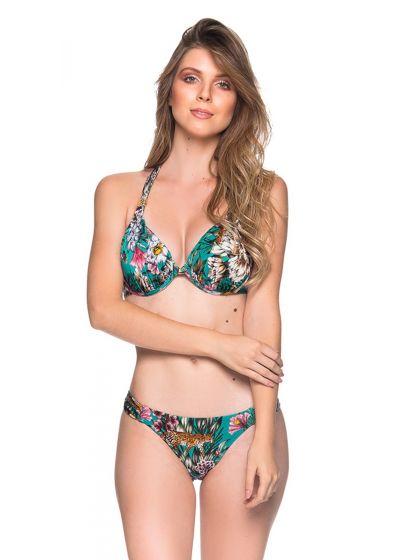 Green floral bikini with pleated sides - TURBINADA TROPICAL GARDEN