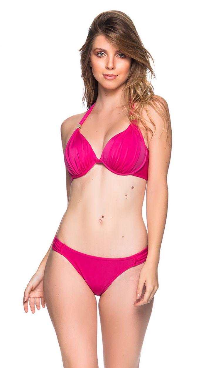 Pink bikini with pleated sides - TURBINADA TROPICALIA