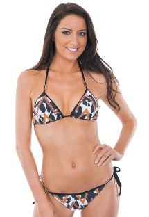 Bedrukte driehoekige bikini met zwarte randen - VAQUINHA MIX