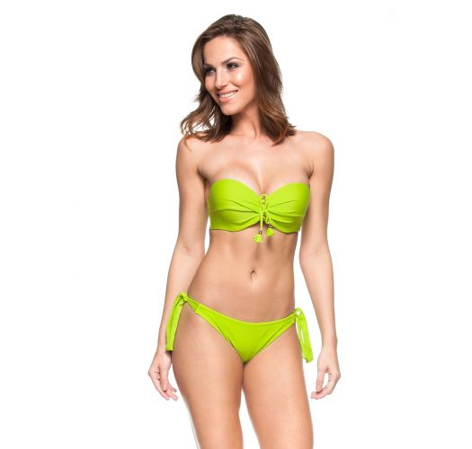 Bikini bandeau brasileño en verde lime - ZANZIBAR