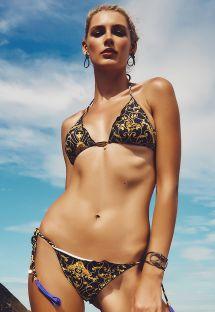 Купальник в бразильском стиле с барочным узором чёрного/золотистого цвета - ACARAJE
