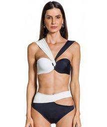Black and white asymmetrical high-waisted bikini - ALANA PRETO