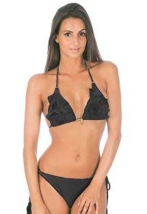Black triangle bikini with frills, bottom with tassels - ANITA BLACK
