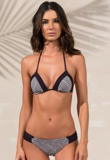 White and black triangle bikini in geometric print - ANNE ZIGGY