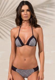 Bikini blanco y negro de top triángulo estampado geométrico - ANNE ZIGGY