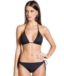 Svart, rynkad bikini med guldfärgade sömmar - BEE PRETO
